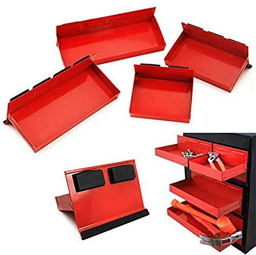 Prima Causa 4pc Magnetic Toolbox Tray Set Tool Box Cabinet Side Shelf Storage Van Workshop