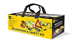 Comprehensive breakdown and road safety kit AA branded zipped storage bag with velcro for securing to boot AA branded components Includes footpump to maintain tyre pressures
