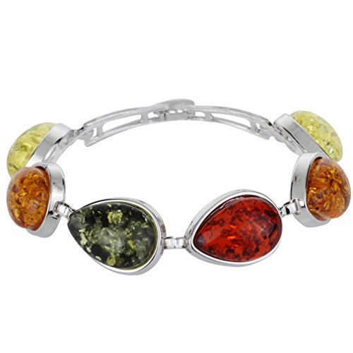 Yazilind Frauen Charm Faux Bernstein Perlen Halsband Regentropfen Bib-Ketten-Charme-Verbindungs-Armband-Armband