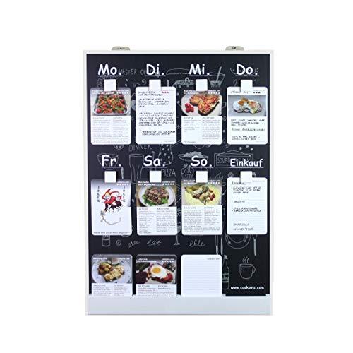 Essensplaner mit 125 Rezeptkarten, wandhängend, Menütafel Kochrezepte Rezepttafel Kochtafel Familie Kochbuch Wochenplaner Haushaltsplaner Cookpins Dekoration Küche