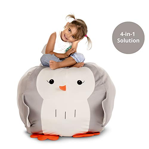 4-in-1 Bean Bag Stuffed Animal Storage - Organize I Play I Decor I Seat I Mom's Life Saver Bean Bag Chair for Kids I Dream Come True Toy Storage Solution I 28 inches I BeanBag Chair Cover only