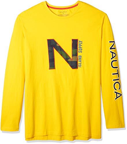 Nautica Men's Big and Tall Printed Long Sleeve Crew Neck Shirt, Empiregold, 3X-Large
