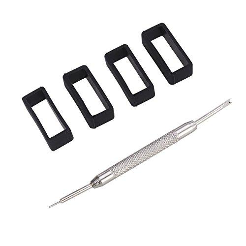 NICERIO 4pcs 22mm Gummi Ersatz Uhrenarmband Bügel Schleifen mit Uhr Werkzeug,Schwarz