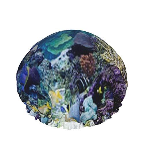 Gorros de ducha Caribbean Reef Exhibit Tank Sea Coral Reef, gorro de baño para hombres y mujeres
