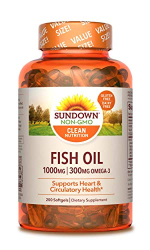 Fish Oil by Sundown, Dietary Supplement, Omega 3, Supports Heart Health, Non-GMO, Free of Gluten, Dairy, Artificial…