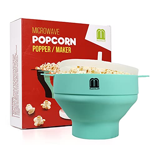 MUGOOLER Microwave Popcorn Popper Silicone Popcorn Maker, Collapsible Bowl with Lid BPA Free and Dishwasher Safe (Light Blue)