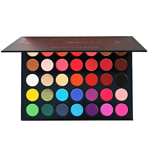 35 Color Studio Palette de fards à paupières Palette de maquillage, nuances de couleurs parfaitement combinables, textures mates, lumineuses et chatoyantes, pour des yeux séduisants