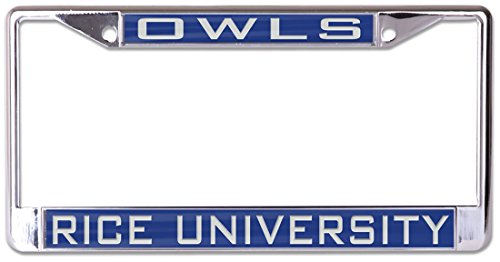 WinCraft Rice University Owls Premium License Plate Frame, metal with inlaid acrylic, 2 mount holes