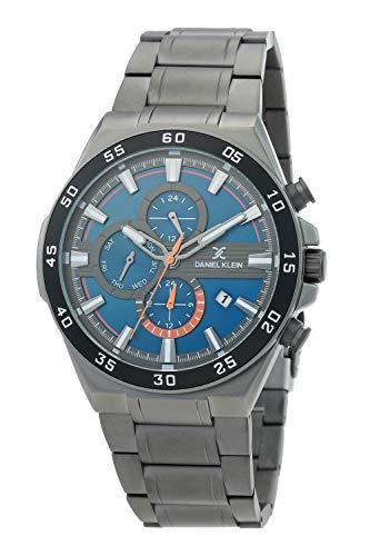 Daniel Klein Reloj de pulsera para hombre (DK12362) – acero inoxidable – 45 mm analógico relojes de moda para hombre – Multifunción – Movimiento de cuarzo japonés – Dual Time, Deporte – Muchos colores