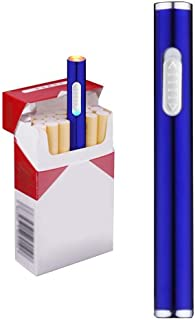 USB Electric Cigarette Lighter Mini Protable Rechargeable Windproof Flameless No Gas Lighter (Blue)