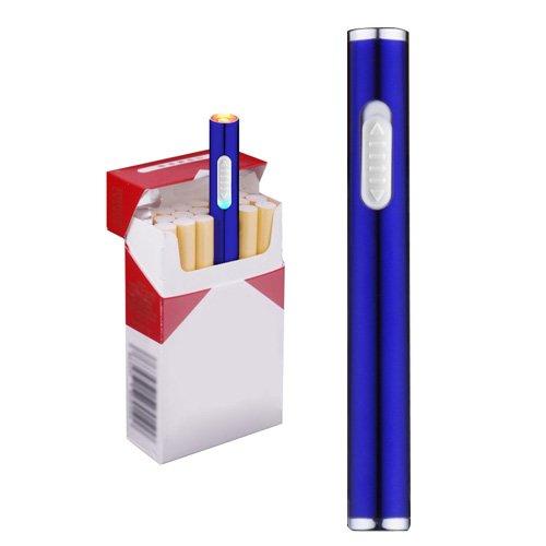Pantheraa Mini USB Feuerzeuge Wiederaufladbar Winddicht Flammenlose Elektronische Plamsa schlank Feuerzeug Tragbar, Blau Blau