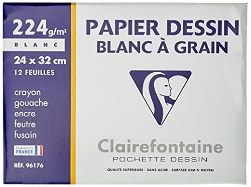 Clairefontaine 96176C - Pochette Dessin Scolaire - 12 Feuilles Papier Dessin Blanc à Grain - 24x32 cm 224g - Idéal pour les Arts Plastiques