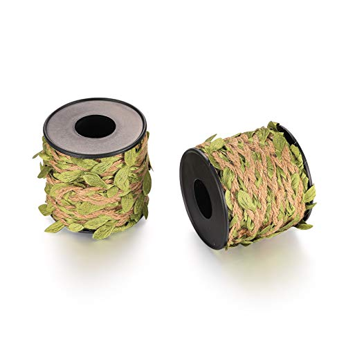 Artificial Leaf Vine Twine, Natural Jute Twine String with Leaves, Plant Garland Burlap Leaf Ribbon for DIY Crafts, Home, Wedding, Party Decorations, 2 Rolls, 30 Feet