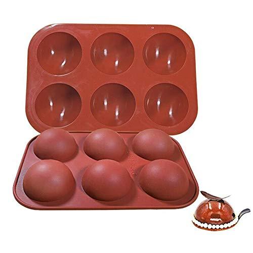 VOANZO Molde para hornear, molde de silicona semicircular con 5 agujeros, moldes para pasteles, juego de utensilios para hornear con cúpula para hacer pudín, dulces, chocolate, decoración de pasteles