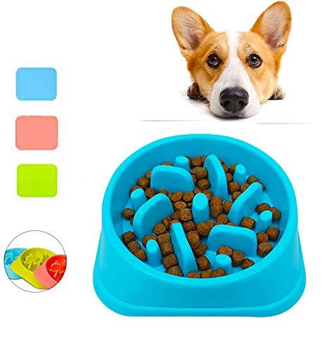 KISME Huisdier Hond kom Langzaam Eten Bowl, Antislip Niet-verstikkende Langzame Feeder Hond Bowl Interactieve Feeder Plezier Voedende Hond/Voedsel Water Bowl Help Vertering Huisdier Gebruiksvoorwerpen, Blauw