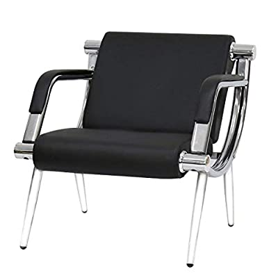 Worldrich Office Reception Chairs Waiting Room Chairs for Salon Barber Bench Airport Bank Hall Visitor Guest Black PU Leather 1 Seat Sofa