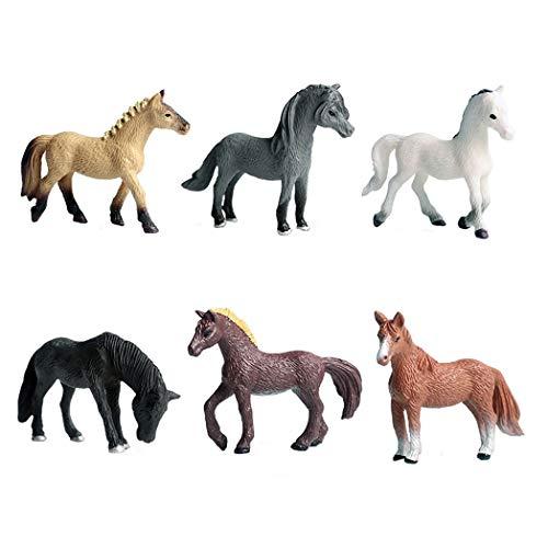 JOKFEICE Figuras de Animales 6 pcs Realista Plástico Familia de Ponis Incluye Haflinger, Morgan Horse, Quater Horse etc. Proyecto de Ciencia, Regalo de cumpleaños, Decoración de Pastel para niños