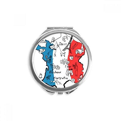 DIYthinker Bandera nacional Mapa de la ciudad Francia Landmark espejo redondo portable de la mano del bolsillo del maquillaje