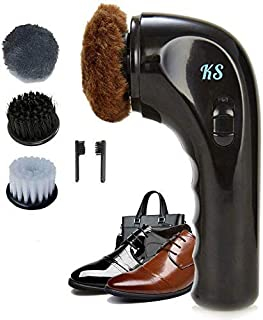 Electric Shoe Polisher Handheld Shoe Shine Kit, Electric Shoe Buffer Brush Shoe Shiner Dust Cleaner Portable Wireless Leather Care Kit for Shoes, Bags, Sofa (Shoe Polishers)