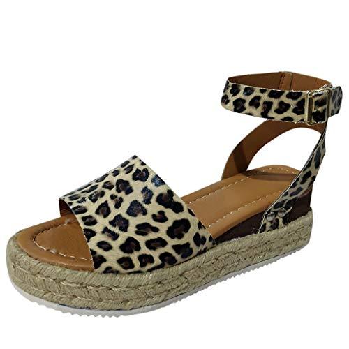 Sandalias De Leopardo Zapatilla Mujer Verano De Gran Tamaño con Base Gruesa De Cáñamo Y Sandalias De Mujer Cuña 5cm Elegante Popular Zapatos Mujer,2019 Calzados Moda Diseño VECDY (Marrón,EU=39)