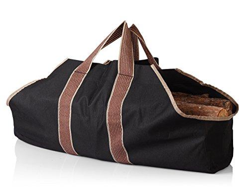 薪 まき 持ち運び用 帆布 ログ トート キャリー バッグ bag ブラック【並行輸入品】
