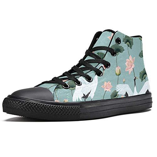 TIZORAX Japanische Kraniche im Lotus-Teich Hohe Sneakers Mode Schnürschuhe Canvas Schuhe Casual Schule Walking Schuh für Herren Teenager Jungen, Mehrfarbig - mehrfarbig - Größe: 38 2/3 EU