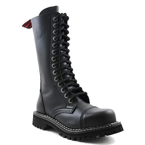 Botas de picor Enojado Botas de guardabosques Militares de Cuero Vegano de Combate Negro de 14 Agujeros Punta de Acero AI14Z/B/LE (46 EU)