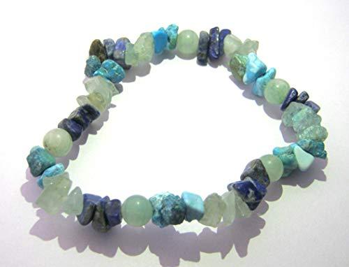 Lapislázuli - Pulsera elástica de cuarzo verde turquesa y aguamarina con cristal curativo, regalo de moda, energía psíquica metafísica y poder de chakra