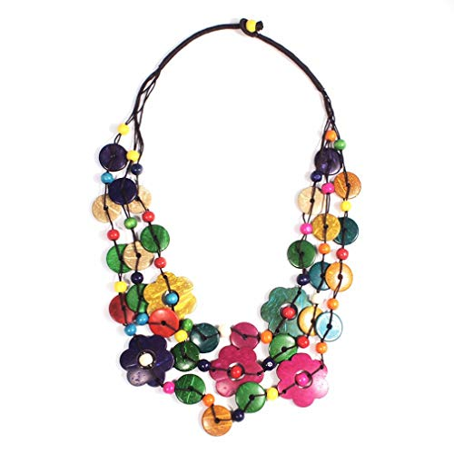 YAZILIND Vintage Antique tissé perlé Collier de Fleurs de Bohême avec pendentifs Coquille de Noix de Coco pour Dames et Filles (coloré)