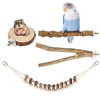 Woiworco Lot de 4 perchoirs pour oiseaux, accessoires de cage à oiseaux, support en bois naturel, tige en bois, plateforme en bois, échelle pour perroquet, perruche calopsitte