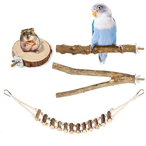 Woiworco - Juego de 4 soportes para perchas para pájaros, accesorios para jaulas de pájaros, soporte de madera para periquitos