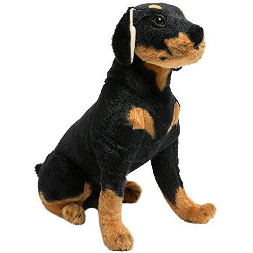 letaowl Stofftier Lebensechte Kuscheltiere Rottweiler Sitzen Plüsch Hund Spielzeug Weichen Welpen Geschenke 17 zoll/40 cm