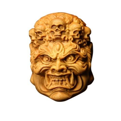Yifuty Artesanía Fudo Mingwang Buddha Head Cabeza Coche Pendiente de Coche, Pieza de mano Mano de los hombres, Decoración de Wenwan, Regalo de decoración de automóviles, Tallado Boxwood 50 * 35 * 40mm