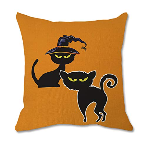 Halloween Decorative Throw Pillow Covers Natural Linen Pillowcase for Sofa Home Decor