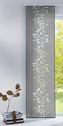 Vorhängebox Moderner Flächenvorhang Raumtrenner Schiebegardine Tendril aus hochwertigem Ausbrenner-Stoff mit Paneelwagen, 245x60 (HxB), Grau, 85611