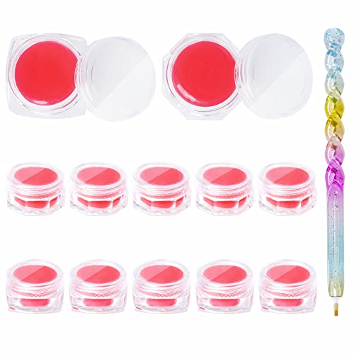 11pcs Diamond Painting Tool Set Including 1pcs Point Drill Pens and 10pcs Diamond Painting Wax Storage Case Full of Glue Clay Organizer for DIY Embroidery Accessories