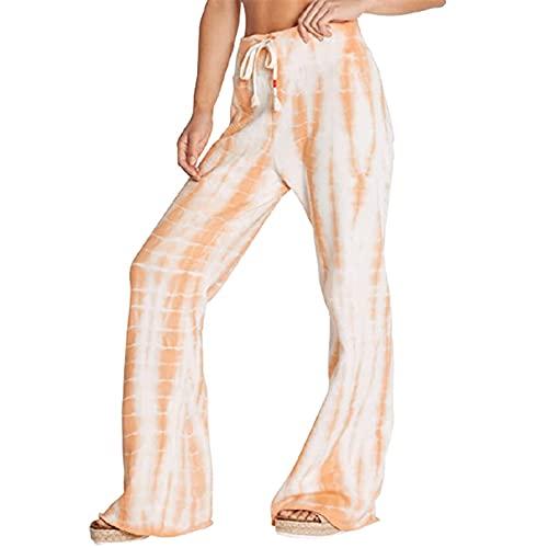 Bascar Pantalones deportivos para mujer con estampado gradiente, multicolor, con bolsillos, para otoño e invierno, elásticos, para personas mayores, corte recto, bolsillos A861, caqui, XXXL
