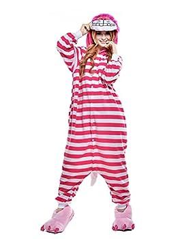 NEWCOSPLAY Adult Unisex Totoro Pyjamas Halloween Onesie Costume  L Cheshire Cat