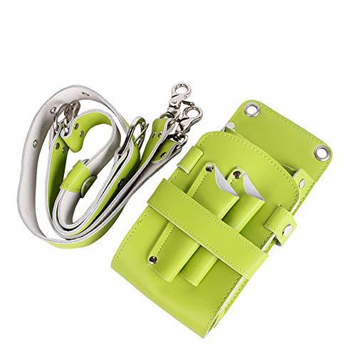 YUXINCAI Leather PU Hairdressing Scissors Hairdressing Tool Bag Belt Leather Case Leather Retro Professional Barber Stylist Pocket Set,Green