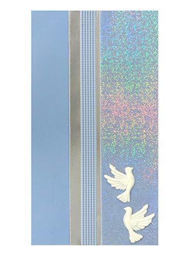 Pracht Creatives Hobby 7073-20445 Verzierwachsplatten Mix hellblau / silber, 3 halbe Wachsplatten, ca. 200 x 50 x 0,5 mm, Wachsstreifen und Sonderzeichen, zum Modellieren und Verzieren von Kerzen