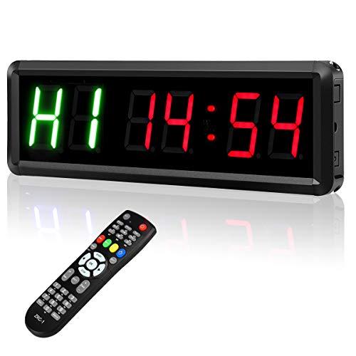 BOBLOV Fitness Training Gym Timer LED Intervall Timer Uhr mit Fernbedienung Indoor Stoppuhr mit Fernbedienung für Crossfit, Tabata, EMOM, MMA (zwei grün + vier rot))