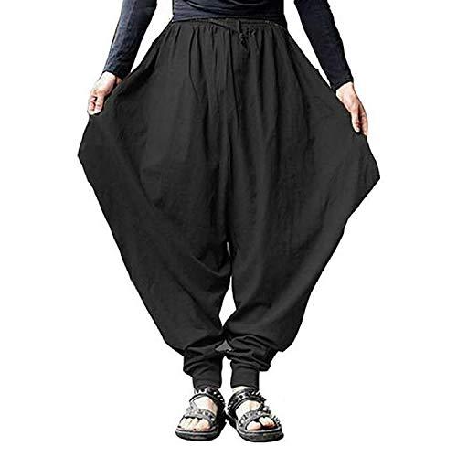BSbattle Haremshose für Herren, Übergröße, Baumwolle, Leinen, Baggy, japanischer Stil, Jogginghose, Hip-Hop-Schritt, weites Bein - Schwarz - Medium