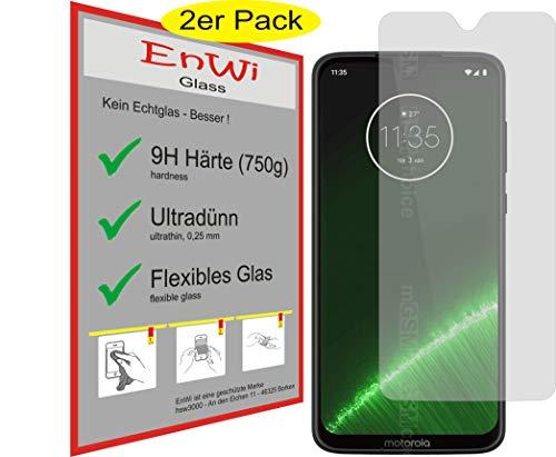 EnWi | 2X Panzer-Glas-Folie 9H Bildschirm-Schutz-Folie für Motorola Moto G7 Plus