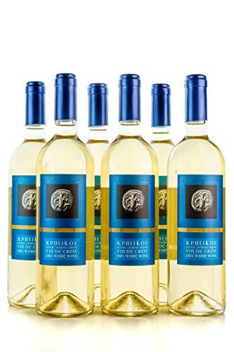 6x 750ml Vin de Crete Weißwein trocken 12% Michalakis kretischer weißer Wein griechischer Tafelwein im 6er Set + 10ml Olivenöl zum testen