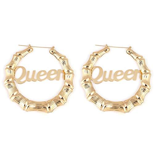 "WT-DDJJK Fashion Big RoundWomen Acrylic Earrings ""Royalty Queen Money Melanin chunky Boujee"" Gold Tone Hollow Casting Round Bamboo Hoop Earrings"