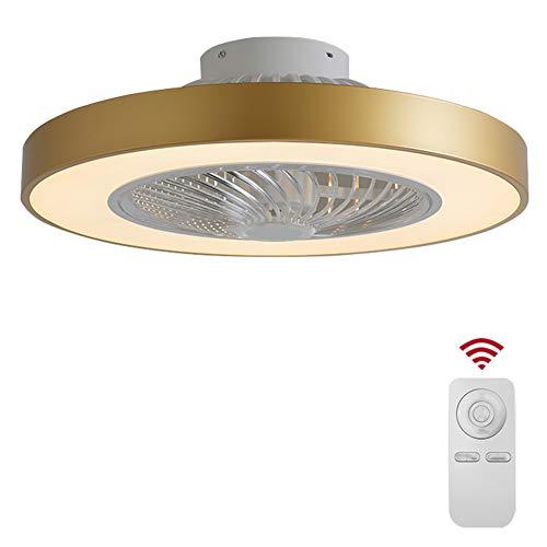 SXYY-rond gouden LED eenvoudige moderne plafondventilator licht/onzichtbaar fan licht - plafondventilatoren met verlichting en afstandsbediening, voor slaapkamer/keuken / woonkamer, Φ20.66In 42W