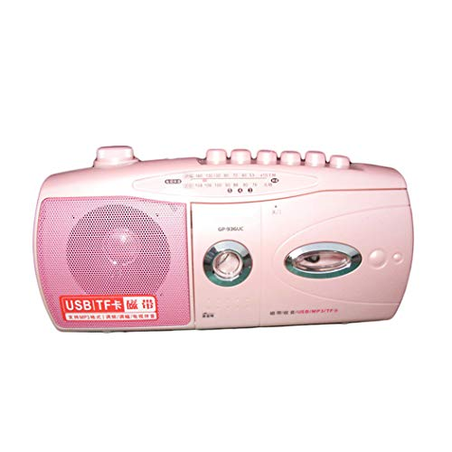 YourBooy Tragbarer Kassettenrekorder, Laufwerke/Rekorder/Radio können über U-Disk MP3 / eingebautes Mikrofon Retro-Lautsprecher abgerufen Werden,Rosa