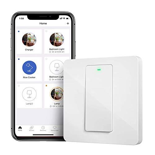 Interruptor de Pared Wi-Fi 2 Vías, 1 Canal, Compatible con Alexa, Asistente de Google y...