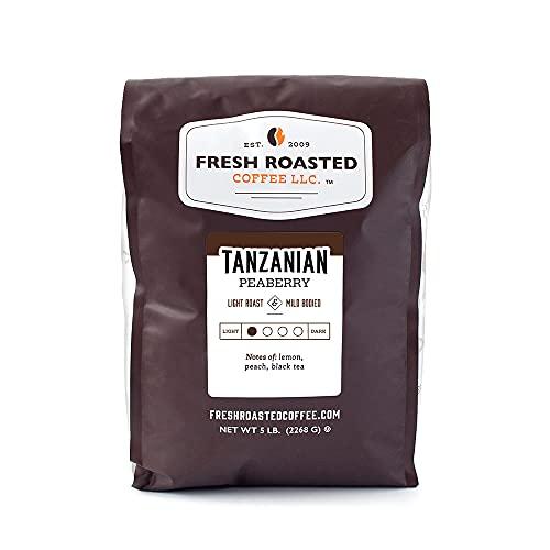 Fresh Roasted Coffee, Tanzanian Peaberry, Light Roast, Kosher, Whole Bean, 5 Pound