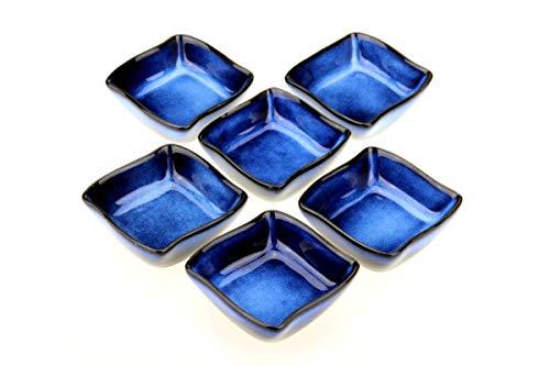 6 ciotole per salsa/salsa Nami in porcellana smaltata a mano 6 x 6 cm (blu scuro)